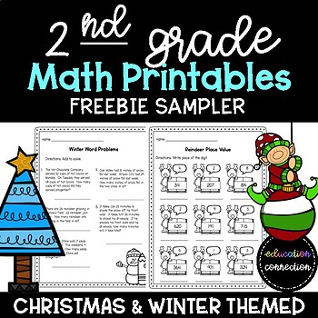 Christmas Worksheets: Math Practice Pages for 2nd Graders (FREE SAMPLE)