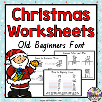 Christmas Worksheets QLD Beginners Font