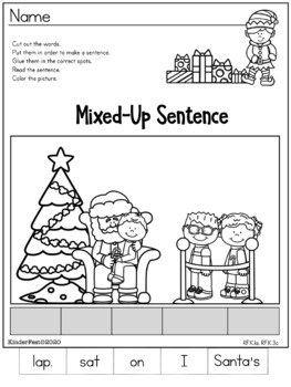 Christmas Worksheets for Kindergarten - ELA and Math