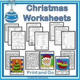 Christmas Worksheets - No Prep Christmas Packet Just Print and Go