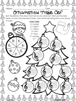 Christmas Worksheets for Music