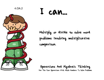 Christmas Wrap Theme 4th grade math Common Core Posters fourth Grade Standards