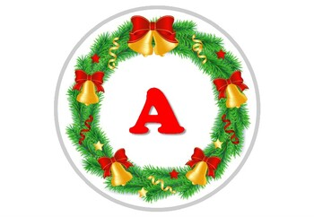 Christmas, Wreath, Bells, Circle Banner Bulletin Board Letters, Alphabet Posters
