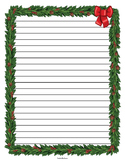Christmas Wreath Border Lined Paper