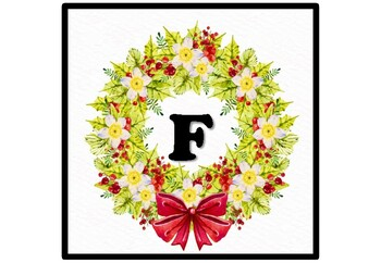 Christmas Wreath Bulletin Board Letters, Alphabet Posters, Home Decor Printables