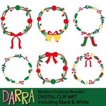 Christmas wreath modern. Clip art