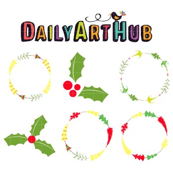 Christmas Wreath Clip Art - Great for Art Class Projects!