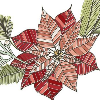 Christmas Wreath ClipArt, Flower Holiday Graphics, Pointsettia Flower
