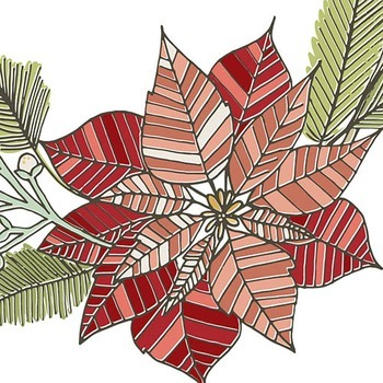 Christmas Wreath ClipArt, Flower Holiday Graphics, Pointsettia Flower