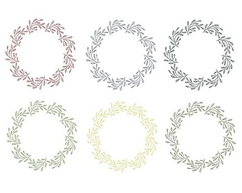 Christmas Wreath Clipart, Digital Design, Christmas Clipart Set #084