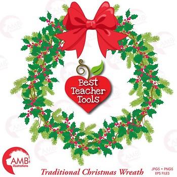 Christmas Wreath Clipart, Holly Clipart, AMB-1495