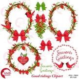 Christmas Wreath Clipart, Red Cardinal Christmas, Holly Clipart, AMB-1422