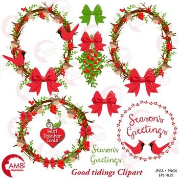 Christmas Holly Clip Art.Christmas Wreath Clipart Red Cardinal Christmas Holly Clipart Amb 1422