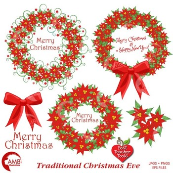Christmas Wreath Clipart, Vintage Christmas, Holly Clipart, AMB-1120