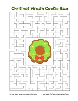 """Christmas Wreath Cookie"" Maze! Holiday FUN! (Color and Black Line)"