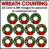 Christmas Wreath Counting Clipart Color & BW Personal or C