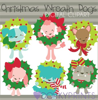Christmas Wreath Dogs Digital Clip Art