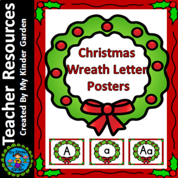 Christmas Wreath Full Page Alphabet Letter Posters Upperca