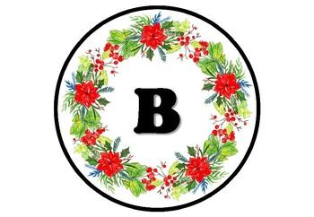 Christmas Wreath, Holly, Poinsettia, Printable Bulletin Board Letters, Banner