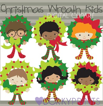 Christmas Wreath Kids  Digital Clip Art