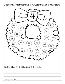 Christmas Wreath Multiples Coloring Sheets