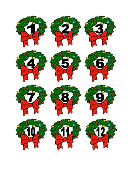 Christmas Wreath Numbers for Calendar or Counting Activity