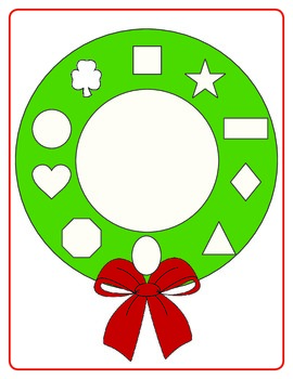 Christmas Wreath Shape Match -- PreK File Folder Game