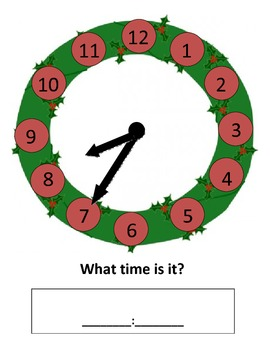 Christmas Wreath-Telling Time Practice