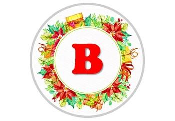 Christmas Wreath, Watercolor, Circle Bulletin Board Letters, Printable Decor
