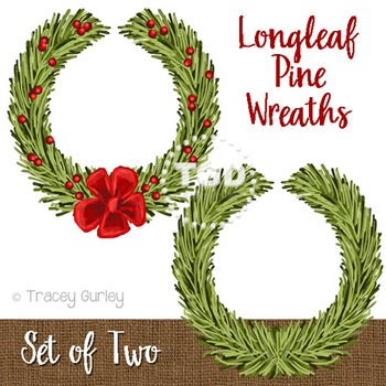 Christmas Wreath clip art, Longleaf Pine Wreath Printable Tracey Gurley Designs