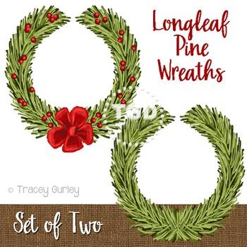 Christmas Wreath clip art, Longleaf Pine Wreath Printable