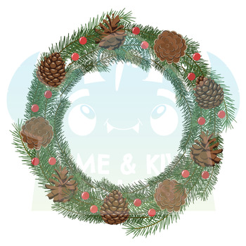 Christmas Wreaths 3 Clipart   Instant Download Vector Art   Commercial Use Clip
