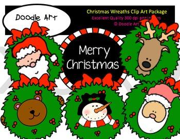 Christmas Wreaths Clipart Pack