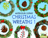 Christmas Wreaths 1 Watercolor Clipart   Instant Download
