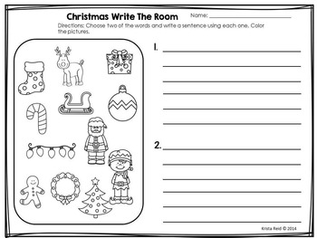 Christmas Write The Room - Literacy Activity