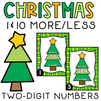 Christmas Write the Room Ten More Ten Less 2-Digit Numbers
