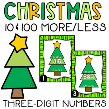 Christmas Write the Room 100 More 100 Less 3-Digit Numbers