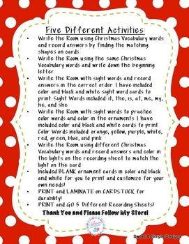 Christmas Write the Room Activities
