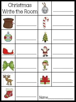 Christmas Write the Room-Beginning Sounds