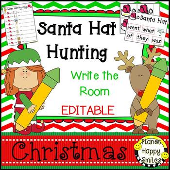 Christmas Activity ~ Christmas Write the Room (EDITABLE)  ~ Santa Hat Hunting
