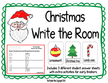 Christmas Write the Room- Includes 3 levels of answer sheets