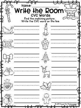 Christmas Write the Room {Middle Sounds and CVC Words}