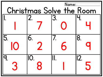 Christmas Write the Room Subtraction within 10