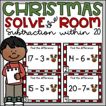 Christmas Write the Room Subtraction within 20