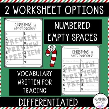 Christmas Write-the-Room Vocabulary