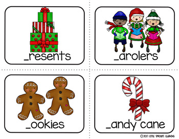 Christmas Write the Room (plus beginning sound and missing vowel cards)