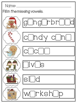 Kinder /First Grade - Christmas Write The Room with Vowels and Compound Words