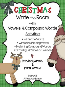 Kinder /First Grade - Christmas Write The Room with Vowels
