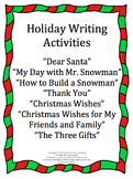 Holiday Writing Activities