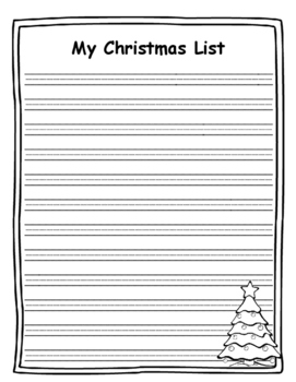 Christmas List Template.Christmas List Writing Paper Christmas List Template Christmas Writing Prompt